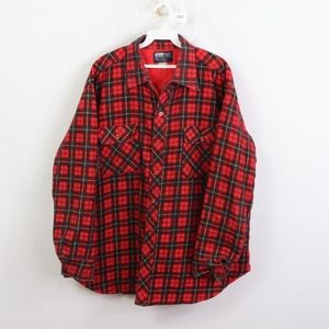 80s Jc Penney Mens XL Quilted Plaid Jac Shirt Red
